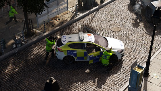 British police fighting off the combine.