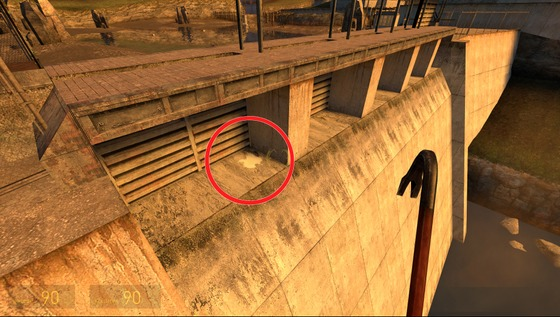 """Hello there!  What do you think about white spots of paint located on the dam next to the """"Black Mesa East""""? Despite the fact that without cheats in the game, this spot is, well, impossible to see. Do you have any idea where it came from?"""