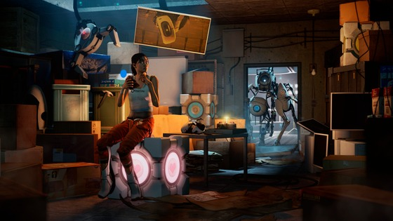 Chell was eating a cake, while Wheatley and his pals were knocking in.   (i hope portal is allowed on this website, cuz' it's in Half-life universe)  FULL VER - https://www.deviantart.com/crispenchannel/art/SFM-Portal-That-awkward-moment-8K-REMASTERED-855975187