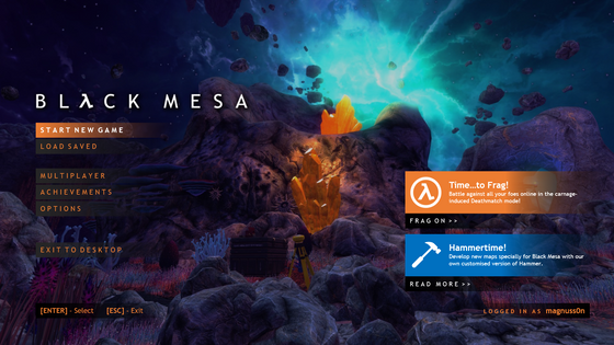 Black Mesa - Game menu re-redesign concept, modernising the old Source-styled design making it both desktop and controller-friendly at the same time. Inspired by Doom Eternal's menu.