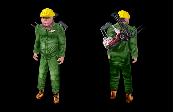 GUS for Half-Life: Loop  The forklift is his long jump module.  I should stop implementing player skins and finish the game but is so much fun to see these models in the game!  :D