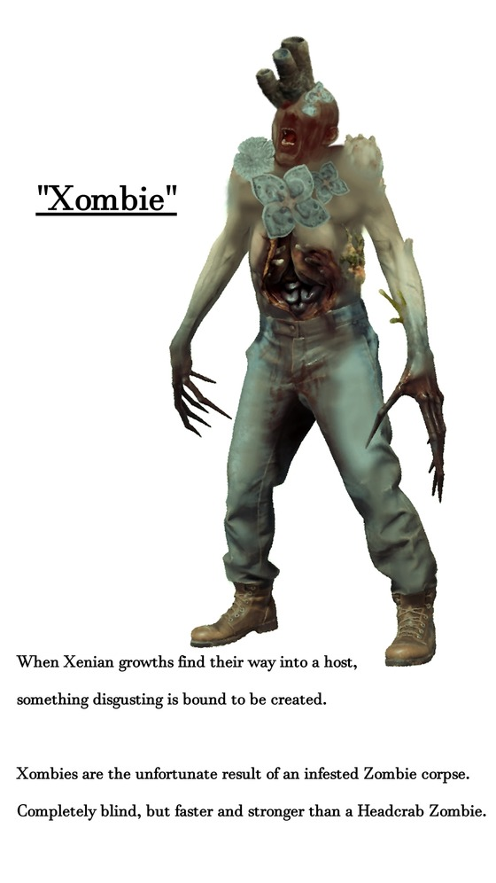 """Well hello, I still haven't posted anything here yet so here's a random concept from a 7 Hour War HL2 mod that I was working on until I canned it because I can't code Bullsquids, Houndeyes or the Xombies which would basically act like Zombines but without Grenades. Xombies are essentially a weaker however more common variant of """"Jeff"""" from HLA."""