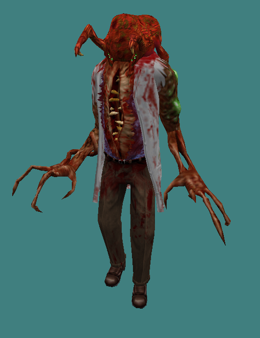 Now for something a little different! The work in progress poison zombie! It's my justification for why the green spores (that were added in the HD pack) are growing out of various locations on their bodies.
