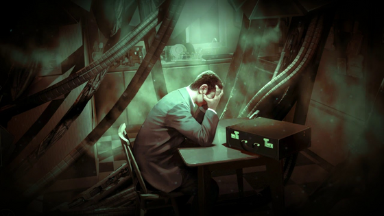 """Anyone else find this concept art piece of G-man really fascinating? While this isn't canon per se, it's still interesting to think about. This is the only time we ever see him looking so defeated. Was this the vortigaunt energy of the vault getting to him? Or Is this what he's truly like behind the scenes when he isn't tending to Gordon or Alyx? He's still working for his """"employers"""", meaning that he isn't actually as omniscient or as powerful as he may seem... What do you guys think?"""