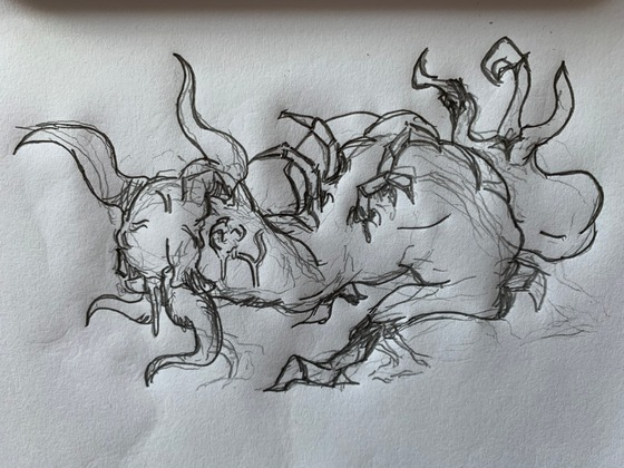 """A morning sketch: a bullsquid-headcrab-zombie. Spews acid showers and, uh, """"spawns"""" new headcrabs from his """"tail...""""  Enjoy the nightmares (:"""
