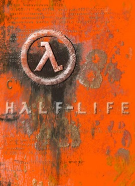 what is the in-canon explanation for the 8 next to the lambda logo on the half life cover?