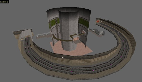 Since we can now make multi-image posts here's a old one from the bird site.  The original layout for Blast Pit had the rail system half-loop around the silo which fit within it almost perfectly. A nice detail Valve threw out the window.