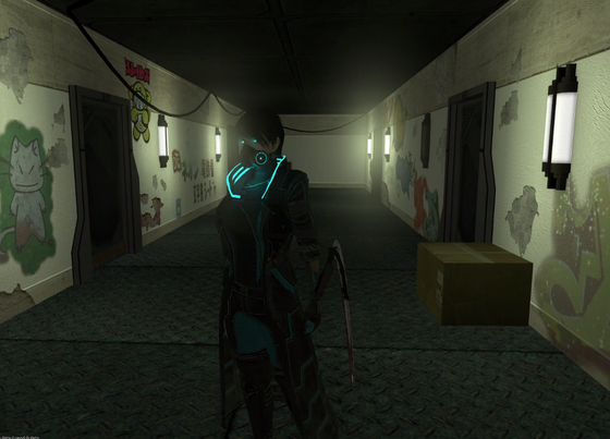 """We're working on some prefabricated building interiors for things such as offices and apartments, for rp_shibmelt, our new custom map for """"Chromed Out 2: Shibuya Meltdown,"""" a detailed and highly social text CyberpunkRP, located at http://co2sm.community85.com/.  Character pictured is Delilah, an agile assassin locked between serving a gang, sketchy corporate wetwork, and the Yakuza. Custom model production created via Blender, streamed/assembled in-game through PAC3. The arm-blades are animated."""