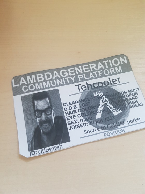 Thanks to @geekin I have my custom LambdaGeneration ID card (I hope I have everything right). Also, I only have black and white printer, so it's not colorful