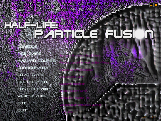 The new retail Half-Life: Particle Fusion theme is finally here! Since I develop primarily still for the retail version of Half-Life rather than the Steam one, I had to make a theme for it. The new one is the animated GIF and the old one is the static image. Fun (or not) fact, this theme was created and finished TO THE DAY on the 10th anniversary of the creation of the original theme. The original theme was a joint effort between me and Xylemon, whereas the new theme is all my own efforts. Hooray!