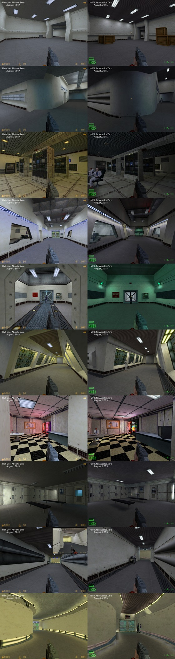 """The evolution of Half-Life: Absolute Zero (namely the first map in the mod.)  These images are quite long, so you will need to click onto them to see the full thing. Advised to open them into a new tab to see them at their original resolution.  2014 - Development starts picking up steam again, level design being headed by GaussGunner and myself. ZedMarine would be slowly be making a return during this era. 2015 - Zed would become level design lead again, GaussGunner would start taking a back seat and would eventually leave to pursue new artistic endeavors. We would finally drop the name """"Half-Life E3 1998"""" later in August and become """"Half-Life: Absolute Zero."""" Demo was planned to be released early 2016 and a full release to follow only a few months afterwards. Blue24 would join the team early that year, marking the retirement of the 2010-2012 code. 2016 - Reality sinks in, we knew Half-Life: Absolute Zero was not in the state to ship early that year as a demo. Various maps that were functioning months prior were no longer playable and discussion on whatever or not development should be restarted again began. We would be able to salvage the maps, but disaster struct once more. The April build that sparked the discussion of rebooting development ended up leaking to the public and everyone could see the state of HLAZ as of April of 2016. 2017 - Things start to start looking up for the mod! Pre-demo testing went good and it was being well received among play testers. A few odd decisions would take place in the month prior to the demo shipping, but overall the Demo was overall well received.  2018 - Things were looking up for the project, everything seemed to be going as planned... Until, well, you know the rest of the story."""
