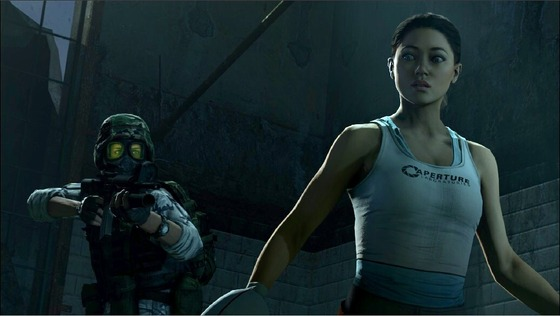 Here are some other old renders. This time Adrian met Chell from Portal!