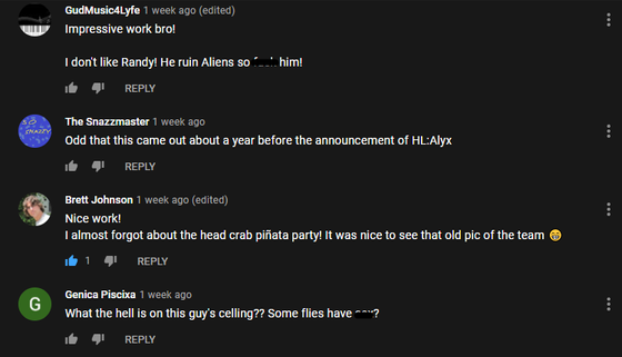 I was watching Noclip's Half-Life documentary again and decided to sort by new through the comments.  I found a wild Brett Johnson, an ex-Valve employee who worked on Half-Life 1 and Opposing Force too I believe.  Small world.  (P.S. idk what to tag this as)