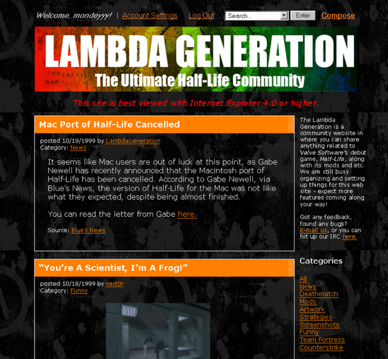 Who remembers logging in to Lambda Generation back in 1999? #retro