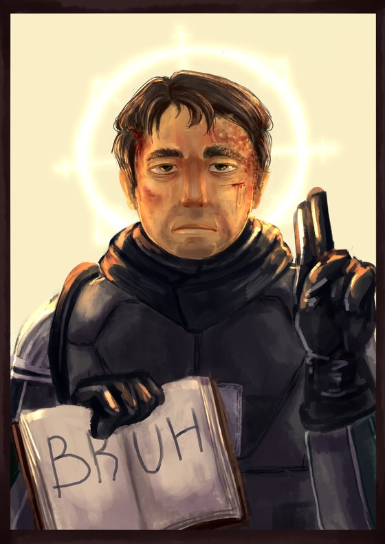 Redraw of a picture from 2019, maybe I'll post it seperatly Like... Yeah. Barney. Saint Barney.