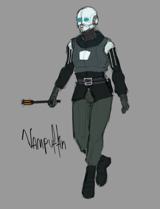 Here's a serious Female CP Officer concept sketch for once. #halflife2