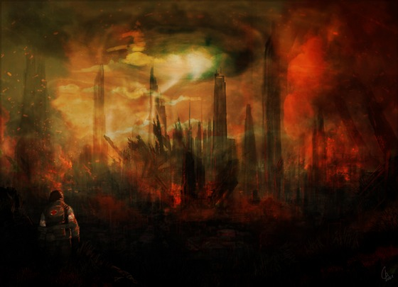 """""""They left without us... They left us inside this hell""""  Destroyed City 17, concept art for the mod """"Half-Life : Radiated"""""""