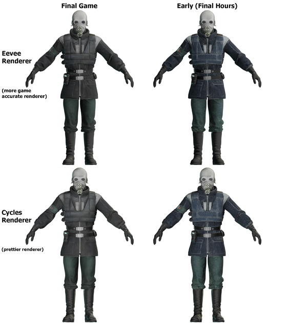 First post, let's make it a fun fact: The Metrocop found in the Final Hours of Half-Life Alyx uses notably different, significantly earlier textures than its final variant. Here's a side by side comparison between the two.