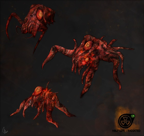 """Some irradiated Headcrabs, with explosive tumors and mutated limbs. They were exposed to radiation from the Citadel after its explosion.  For the Mod """"Half-Life : Radiated"""""""