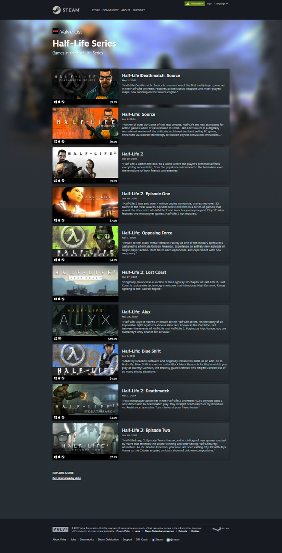 Did you know that on Valve's Curator page on Steam there's a section for the Half-Life series? On said HL series page, there's a shocking lack of Half-Life. However, Half-Life: Source (the bad option) is at full display and is considered apart of the Half-Life series.  This is unacceptable. Valve, please fix.  https://store.steampowered.com/developer/valve/list/7/  (the page is also advertised with a pre-release Opposing Force screenshot, smh my head)