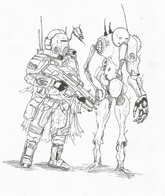 During my free time at work ... a little sketch, then, colorization at home !  Some desert Combine Operator and Synth Trooper.