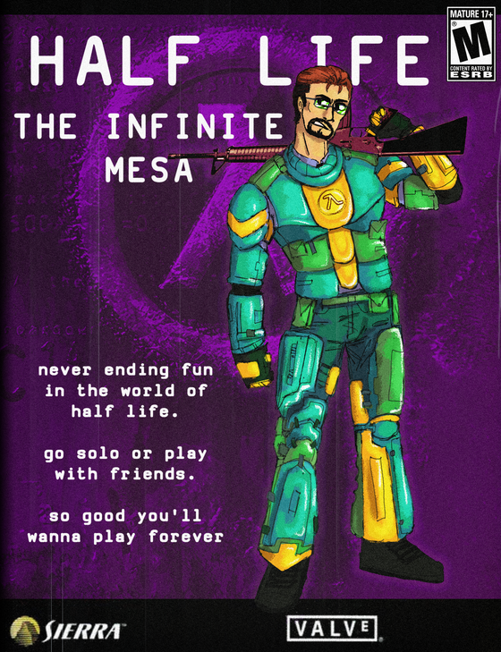 Half Life Dreamcast/ The Infinite Mesa  i thought this HEV design from the dreamcast magazine was fun. ive been drawing Dreamcast for a while now and I'm even using the design in a project called The Infinite Mesa. theres a lot of lore here lol
