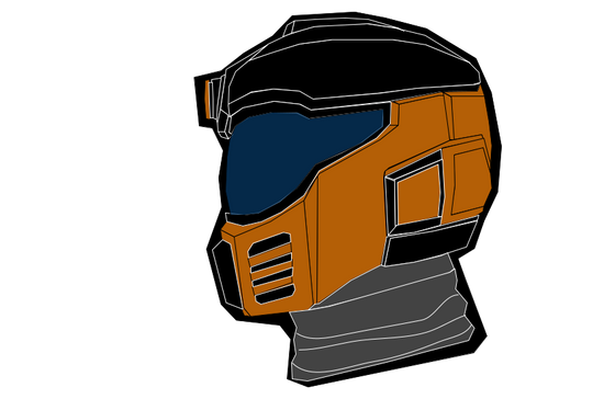 H.E.V. suit helmet I made in Google Drawing with the Polyline tool.