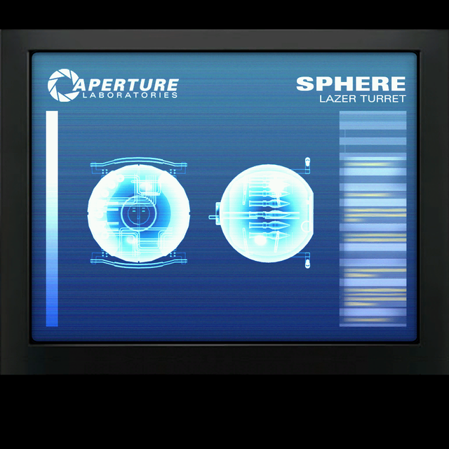 """The Hover Turret (also referred to as the Lazer Turret) is an unused turret from Portal 2. While the turret's programming is still in place within the game's files, it lacks a model; spawning it with a code or placing it with a level editor will result in a blue """"ERROR"""" placeholder model appearing instead. In a pre-release screenshot, it was shown to use the model of the cores from the first game, switching between them depending on its state: it used the Curiosity Core's model when firing at the player, the Anger Core's model when on the ground, and the Morality Core's model when facing away from the player. Despite its name, the turret does not actually hover, but is suspended by a cable from the ceiling. The eyes of the turrets firing at the player were a slightly different shade and glowed more than the Curiosity Core's.  It can be spawned in-game using the cheat command ent_create npc_hover_turret, and can also be placed through Hammer.   Special thanks to the Portal unofficial wiki!"""