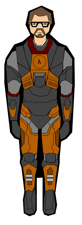 H.E.V. Suit made in google drawing :). This took me 5 hours to make. But with Gordon Freeman.