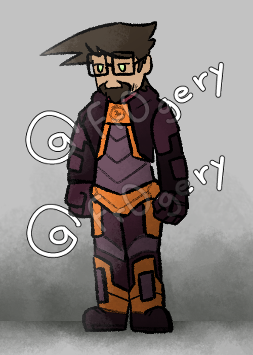 """so a little bit of history about this design : i was going through some of the dms of my friends and found a really old doodle of freeman in this design and colors while i was very fresh into half life. I then thought """"wow, these colors and that simple design HEV suit are pretty cool"""" and drew this  calling this Slim HEV suit"""