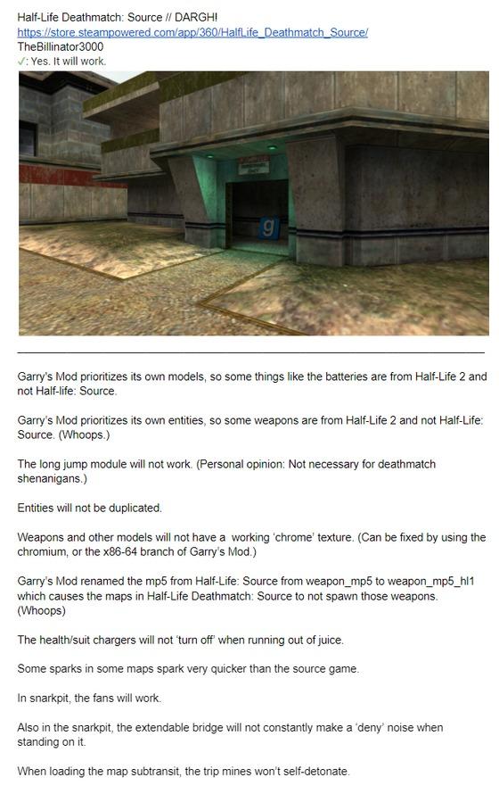 Half-Life Deathmatch: Source will work in Garry's Mod