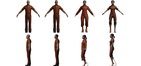 While looking into some of the Portal assets leaked from Portal Project Beta, I found that an early version of Chell, not seen anywhere, was in the files in its entirety, as well as even earlier textures from the temporary model, showing that it originally just used Eric's head texture. Here are all of Chell's Portal 1 models in order.