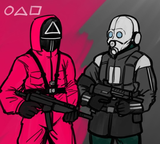 Semo, the hottest drama squid game character, and HL2's civil protection... the posture and composition are similar...?