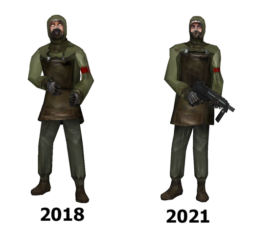 After 3 years, I've created a brand new and improved gasmask citizen model! This swanky fellow comes complete with working eyes, facial flexes, soles, can blink, and even has a female variant with a new facial texture made by yours truly! My lovely new citizen.mdl can be downloaded from here: https://gamebanana.com/mods/327768